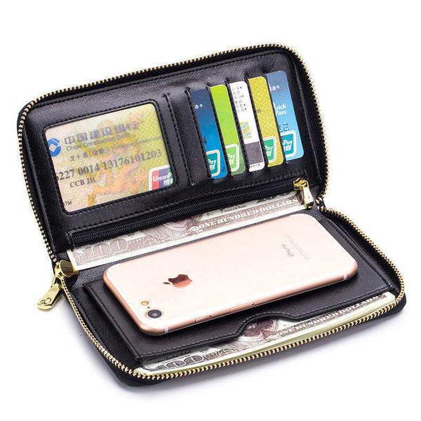 Buena calidad Encantador diseño largo titular de la tarjeta monedero femenino bolsa de embrague con la muñeca cremallera teléfono monedero titulares de tarjetas de crédito