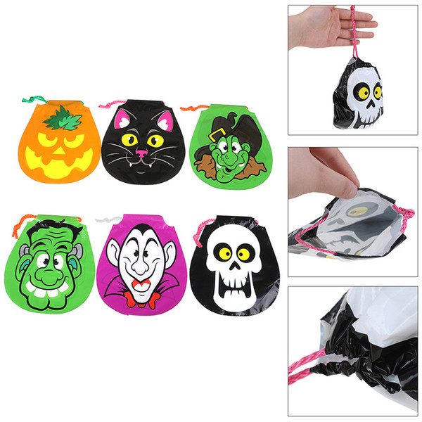 Halloween Candy Bag DIY Pumpkin Ghost Skull Skeleton Witch Cat Kids Trick or Treat Bag PE Drawstring Candy Bags Child Portable Gifts Bags