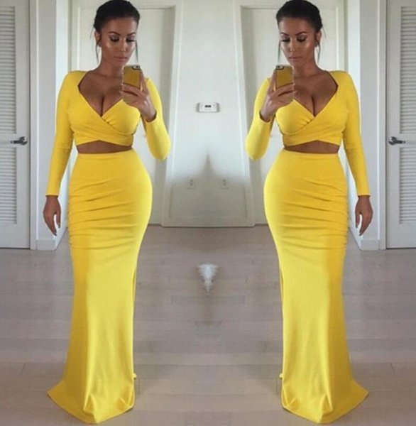 Sexy Simple Two Piece Sheath Prom Dresses Side Slit Long Sleeve Deep V Neck Tight Yellow Cocktail Party Dress 2019 Cheap Plus Size