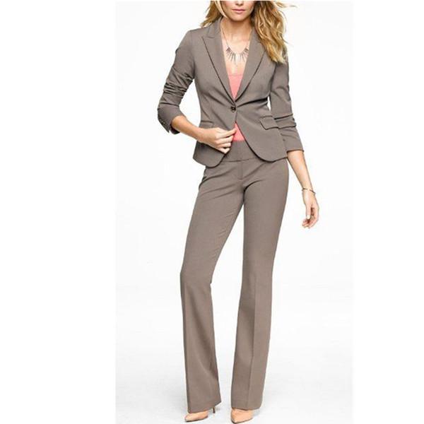 Kadın takım elbise Tepe Yaka Kadın Bayanlar Custom Made Ceket + Pantolon Resmi Iş Elbisesi Yeni Sıcak Suits 2 Parça Ceket + Pantolon