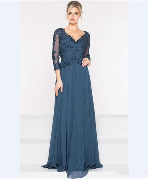2019 V Neck Wedding Mother of the Bride Dresses Applique 3/4 Long Sleeves Evening Gowns Zipper Back A Line Chiffon Prom Dress
