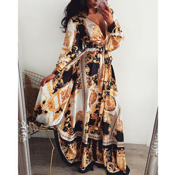 2019 mode frauen boho stil lange sexy tiefem v-ausschnitt strand sommer gedruckt floral maxi vintage damen volle hülse kleider sommerkleid