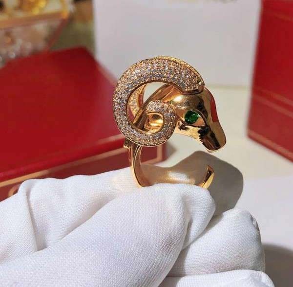 Male and female domineering ring designer animal sheep head ring with logo rose gold gold and silver 3 colors