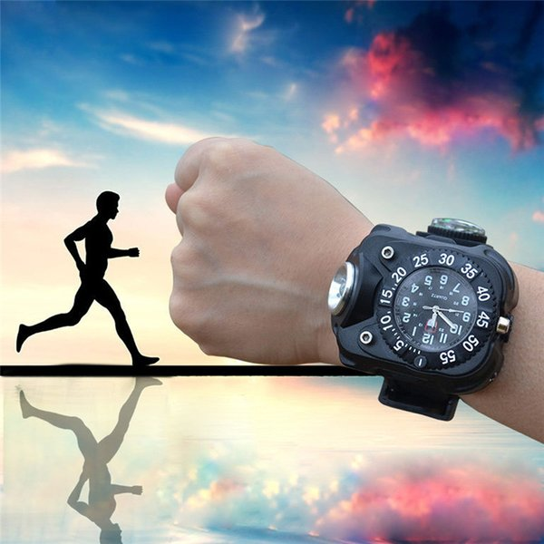 2019 Men's Sports Tactical CREE LED 1500Lm Dial Display Rechargeable Wrist Watch Flashlight Light