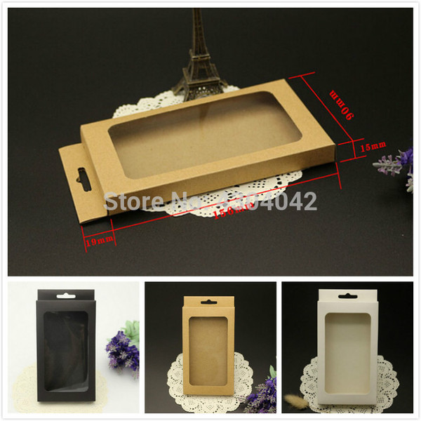 3 sizes Brown Black kraft paper box with pvc window for mobile phone case,retail phone case packaging box, universal phone box