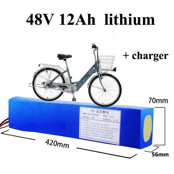 настроить 18650 48 В 12ah литиевая батарея 13 S BMS Lifepo4 48 В литий-ионный аккумулятор для 500 Вт 800 Вт электрический велосипед E-велосипед с зарядным устройством