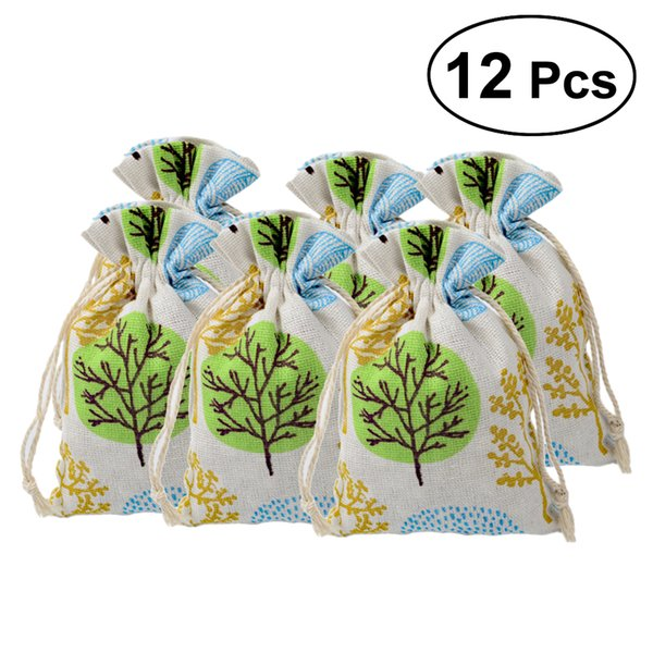 12Pcs Drawstring Bag Tree Printing Cotton Linen Jewelry Bag Storage Pouch Packing Organizer Pouch for Ring Necklace Store