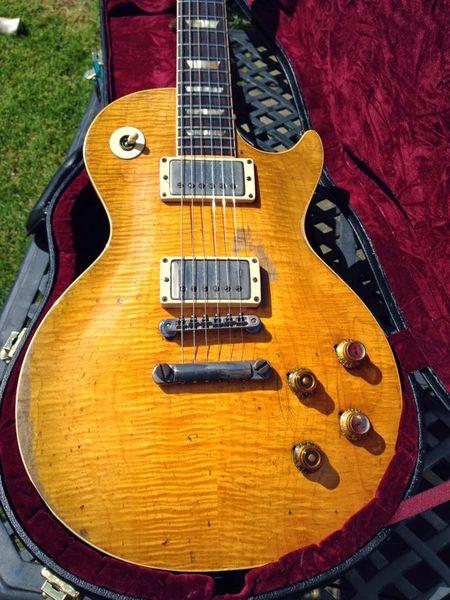 Rar Reliqua Envelhecida Peter Green Gary Moore Guitarra Elétrica Custom Shop Chama Natural Conversão limão estourar guitarra explosão de mel