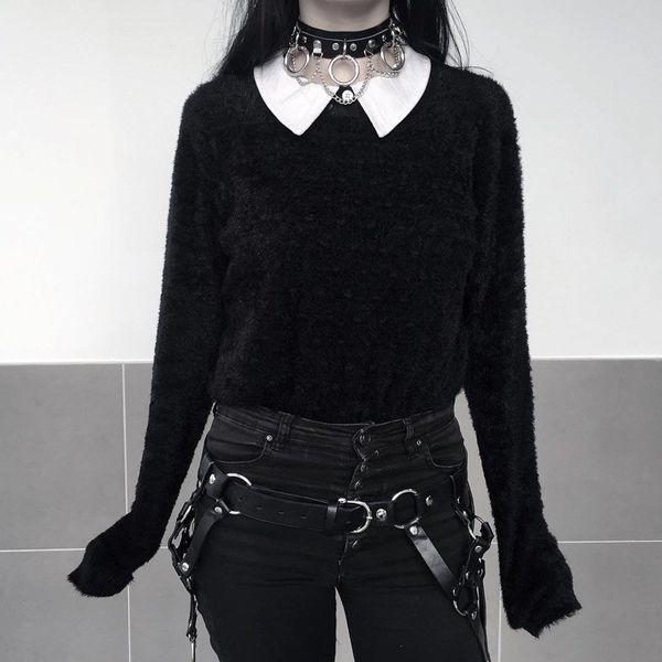 Black Color Sexy Leather Neck Collar Women Restraints Neck Lock Ring Sm Restraint Bondage