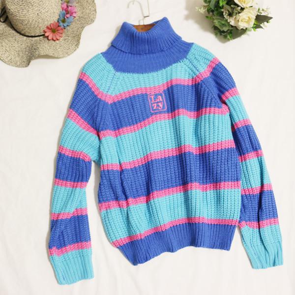 Maglione a strisce blu