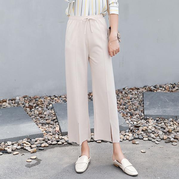 2018 New Summer Lady Fashion Pantalon large jambe en mousseline de soie à taille haute longues et amples pantalons Palazzo Culottes Pantalons pour femmes Pantalones