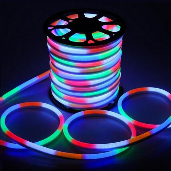 Fanlive 50m / lot Ac 220v LED Stripe Neon Light 80leds / M Bande LED RVB Étanche Flexible Lumière Chaud Blanc / Blanc froid AC85-265V