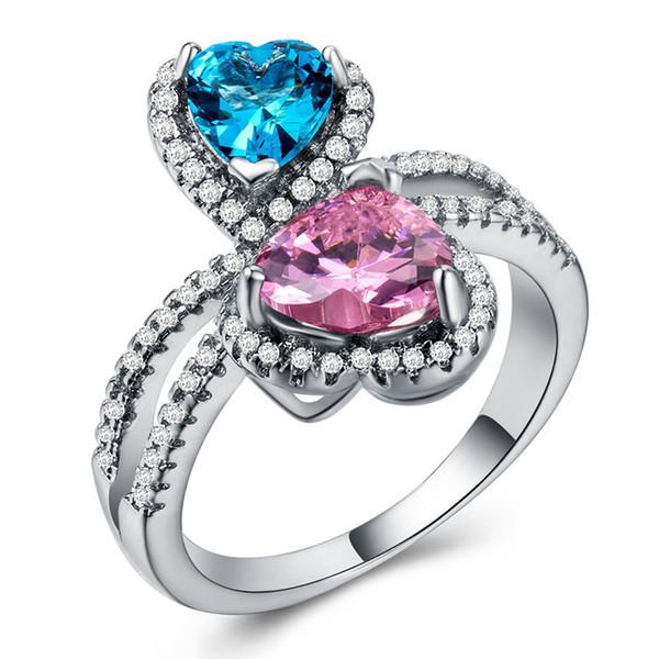 Europäische Ring Originalität herzförmige Zirkon Stein Ring rot blau dichroitische Kupferplatte mit silbernen Schmuck kleine Ornamente