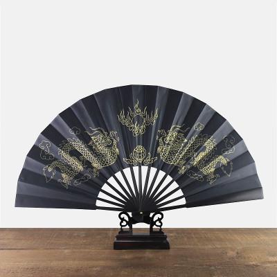 "10"" Large Man Dragon Black Fan Ethnic Traditional Craft Bamboo Hand Fans Chinese Silk Folding Fan Decorative 1pcs"