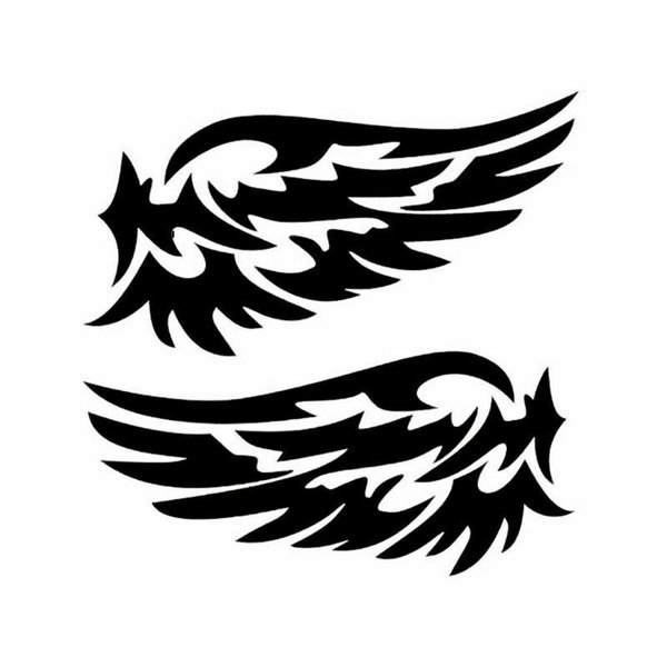 2x Angel Wings Reflective Car Stickers Fashion Car Rearview Mirror Strip Wall Decal