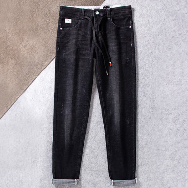 Punk Style Black Drawstring Jeans For Men Stretch Straight Denim Pants Big Size 30-40 42 44 46 Comfortable Biker Jeans Trousers