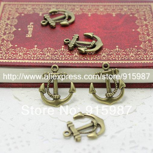Süße Glocke 150 teile / los Antike bronze Anchor Charms Schmuck Anhänger 23 * 21mm Vintage bronze Handcrafted Anhänger A1835