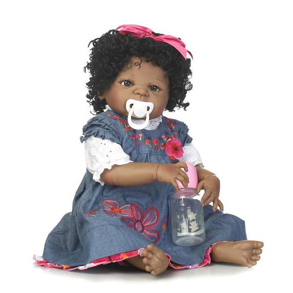 56cm afro-américain bébé Reborn poupées noir fille poupée Full Silicone Body Bebe Reborn bébé poupées enfants cadeaux enfants jouets jouent maison jouets