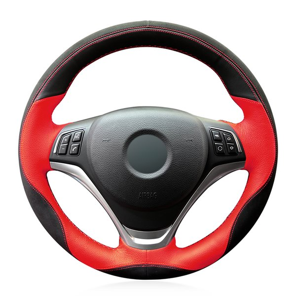 Hand-stitched Black Red Leather Suede Anti-slip Soft Comfortable Car Steering Wheel Cover for X1 E84 2012-2015