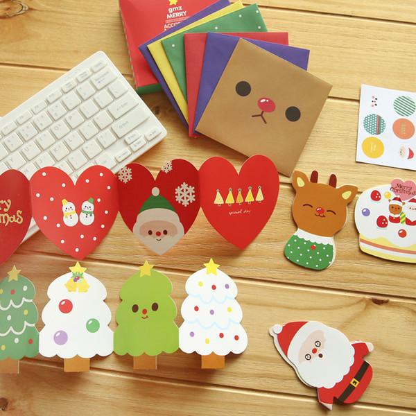 1box Nove cancelleria coreana Christmas Card Busta Set Cartoon Greeting Card