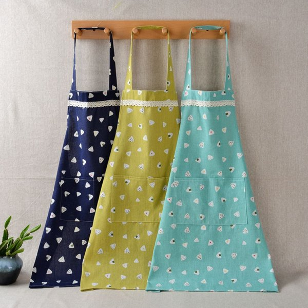 Waterproof Cotton Linen Cooking Apron Mothers Sleeveless Coverall Apron BBQ Oil Proof Apron 10 Pieces ePacket