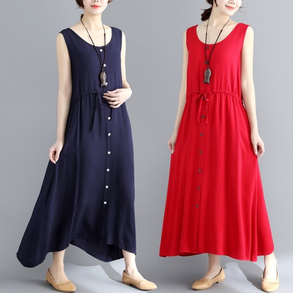 Cotton Linen Series# Women Casual Dress Solid Color Sleeveless Round Neck with Pocket Plus Size Loose Maxi Long Elegant Dresses 6523