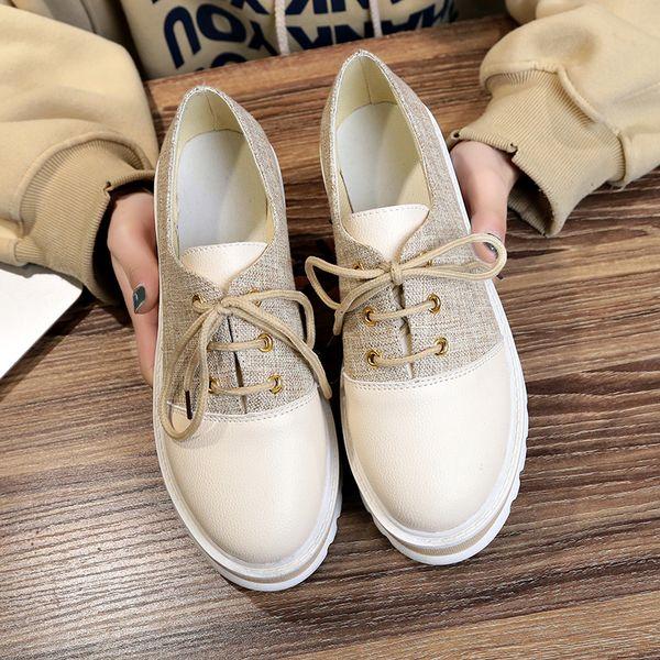 Donne Patchwork Shoes 2019 Primavera Autunno femminile Casual Creepers Lace Up Flat Platform Elegante Borgue Scarpe Espadrillas