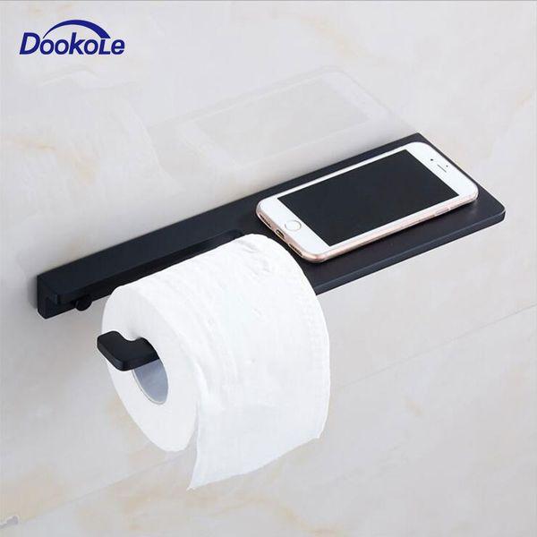 Casa de Banho WC suporte de rolo de suporte de papel Tissue com prateleira de telefone, Washroom suporte de rolo de tecido com material Shelf Matt Black