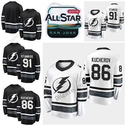 2019 All-Star Game Match Pas Cher Hommes Noir Blanc 91 Steven Stamkos 86 Nikita Kucherov Tampa Bay Foudre Blanc Hommes Chandails De Hockey