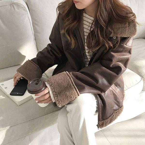 Brand Designer Woman Fake Fur Leather Coats Velvet Jackets Outwear Winter Warm Fleece Faux Fur Leather Coats Overcoats 2018 A301