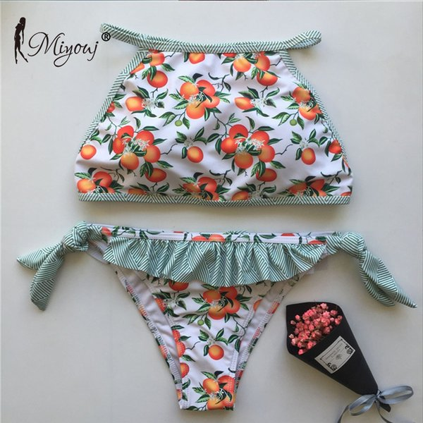 Miyouj Print Bandag Ruffle Push Up Sexy Bikini 2018 Female Swimwear Women Swimsuit Bathing Suit Swim Bikini Set Biquini Bathers Y19072401