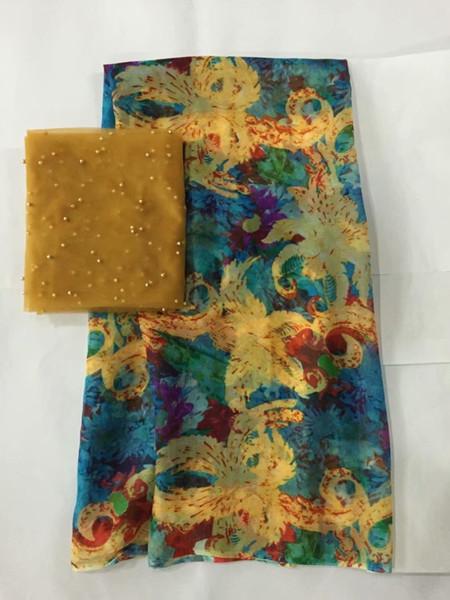tissu de dentelle française tissu de soie pure tissu dentelle dentelle nigérienne tissus de haute qualité tête gele dentelle africaine 5 + 2yard / piece