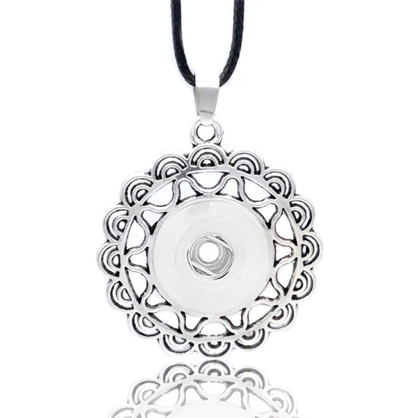 Fashion Interchangeable Flower Crystal Ginger Metal Necklace 041 Fit 12mm 18mm Snap Button Pendant Necklace Charm Jewelry For Women Gift