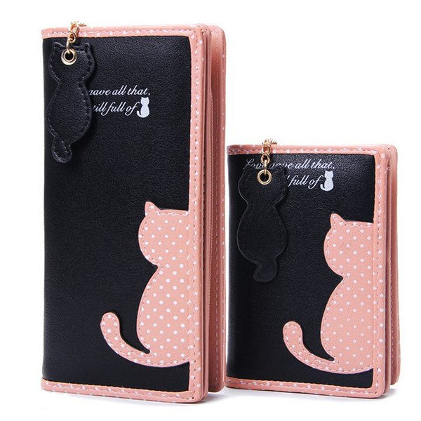 Mode Frauen Geldbörsen Reißverschluss Dame Handtaschen Kupplung Geldbörse Kartenhalter Pu-leder Marke Katze Frau Brieftasche Geldsäcke Burse Taschen