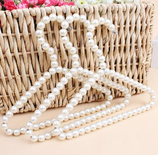 20cm Plastic Pearl Beaded Clothes Dress Coat Hangers Wedding For Pet Kid Children Save-Space Storage Organizer