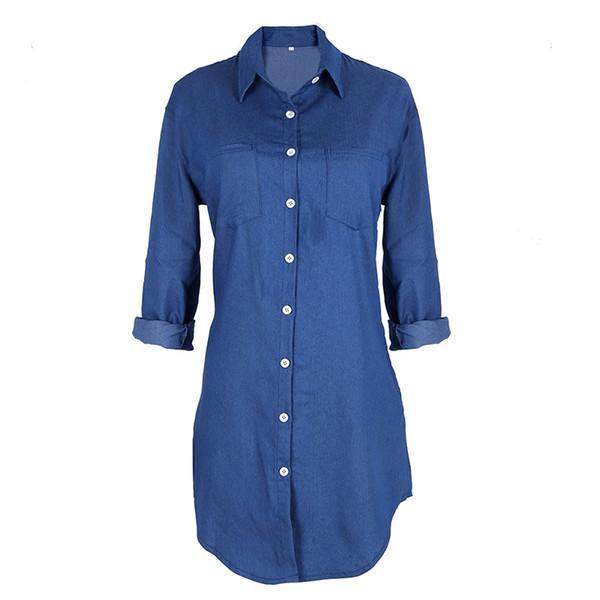 Hot 2019 Estate / Autunno Donna Jean manica lunga in denim sciolto Mini Dress Abiti sexy casual Abiti da festa lunghi T Shirt Abiti