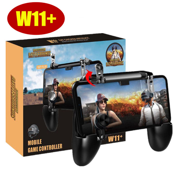 top popular W11+ PUBG Mobile Gamepad Controller PUBG Wireless Joystick Game Shooter Controller for iPhone Android Samsung Phone 2020