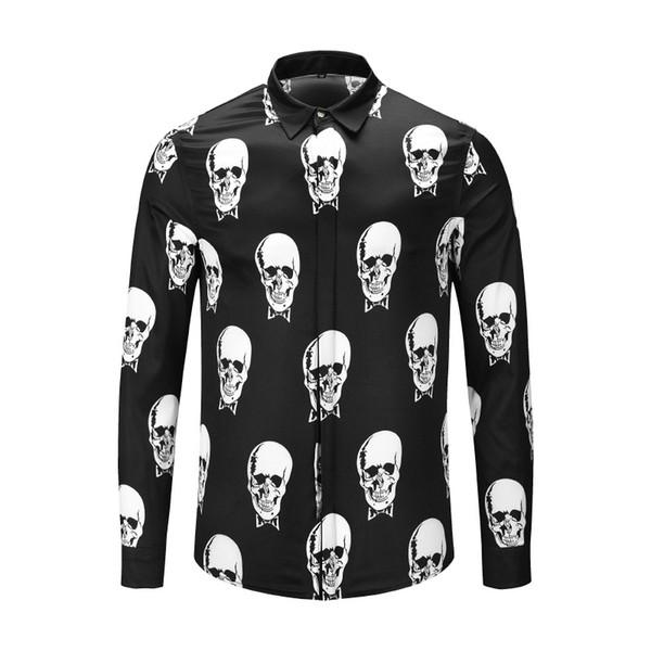 Модный дизайнер Slim Fit Shirts Мужские 3D Medusa Черное золото с цветочным принтом Мужские рубашки с длинными рукавами Бизнес повседневные рубашки Мужские Clothesa9