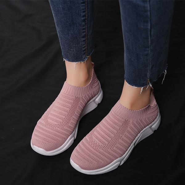 Rimocy zapatillas de deporte de mujer resbalón elástico en tejer pisos mujer 2019 nueva llegada cómodo suela suave talón plano zapatos casuales