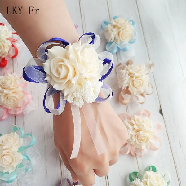 Bracciale Matrimonio sposa polso Corsage braccialetto del fiore della damigella d'onore per la seta rose rosa Accessori matrimonio Fiori