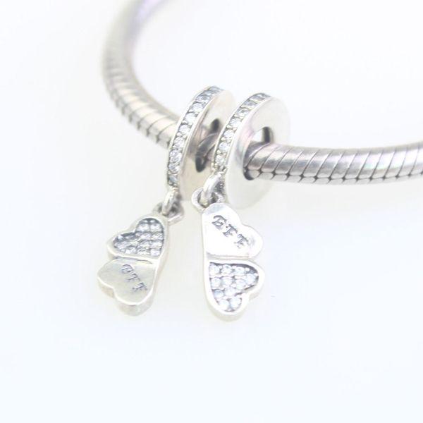 100% encantos de plata de ley 925 mariposa vuelan cuentas pendientes de amor de la hermana de pulseras con hilos de rosca brazalete de la joyería de bricolaje LIUGUOLAN