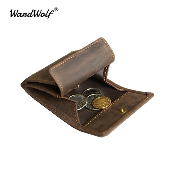 WardWolf Mini Coin Purse Card Holder Handmade Men 's Short Wallet Vintage Crazy Horse Genuine Leather Coin Bag Young Boy Male #124317