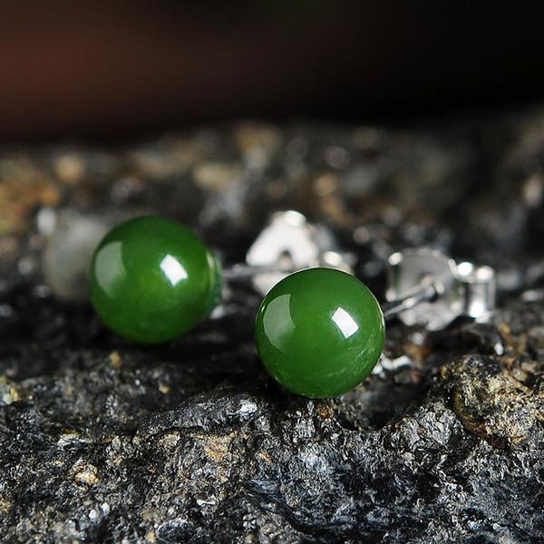 2019 new 925 silver inlaid Hetian jade egg face earrings jasper ear nails jade jewelry earrings female models with certificate