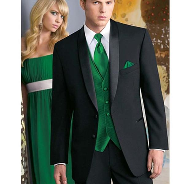 Custom Made Tailored men BESPOKE suit black mens suits tuxedo with satin lapel and green vest (Jacket+Pants+Vest+Tie)