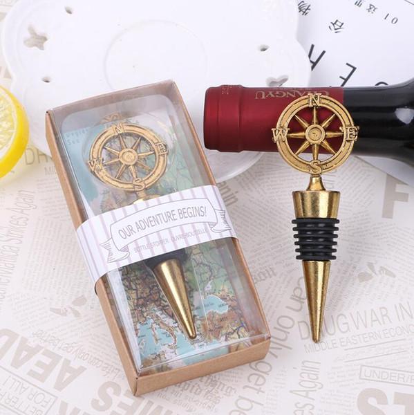 Kompass Abenteuerreise Weinflaschenverschluss Hochzeitsbevorzugung Vintage Bronze Kompass Weinflaschenverschluss Geschenke Bevorzugung LX6800