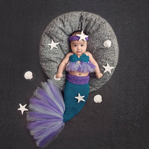 new Baby Girl Knitted Costumes Tutu Mesh Lace Mermaid Tail Clothing Newborn Bebe Photography Props Starfish Headband Q190521