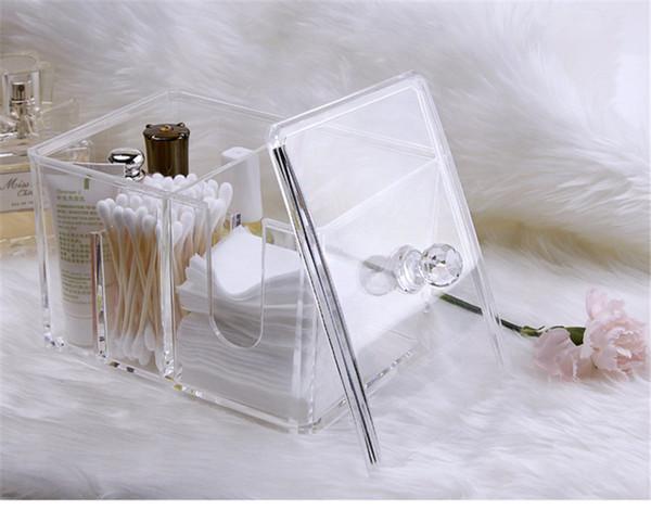 Organizador de maquillaje Caja de almacenamiento para el hogar PP Plástico Baño Organizador de maquillaje Almohadillas de algodón Swab Cotton Bud maquillaje organizador de productos DT0031