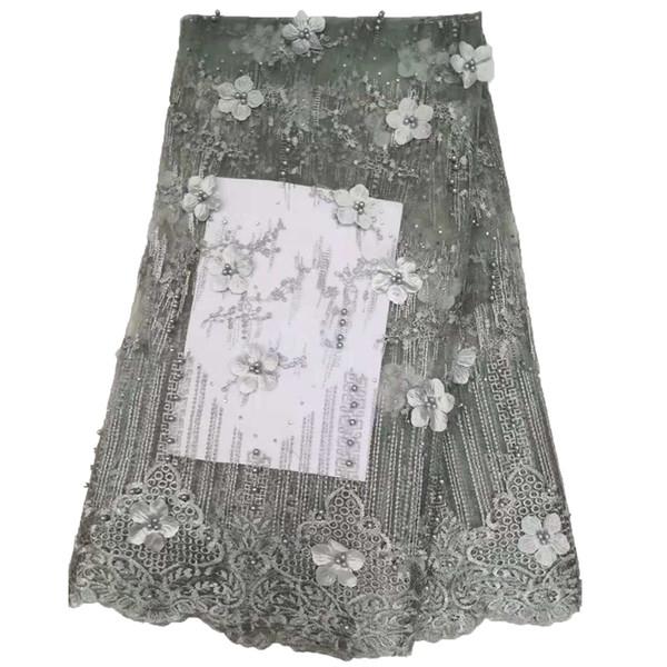 Vestido De Renda Líquida de Prata Cinza de Alta Qualidade Tecido de Renda Africano Flores 3d Rendas Francês 2019 Bordado Nigeriano Laces Tecido X1504
