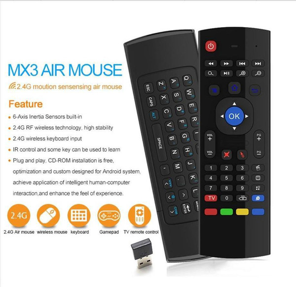 X8 Mini Wireless Keyboard Fly Air Mouse Remote G Sensing Giroscopio Sensori MIC Combo MX3-M Per MX3 Android TV BOX