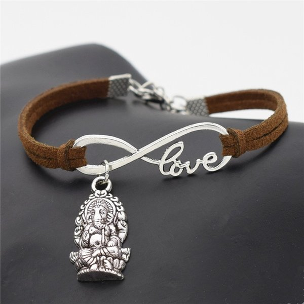 Dark Brown Leather Suede Bracelet Bangles DIY Handmade Weave Infinity Love Meditation Elephant Religion Thailand Ganesha Buddha Jewelry Gift